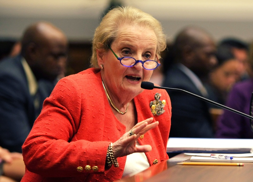 Madeleine Albright testifies during a hearing on Capitol Hill