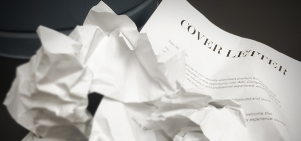 TESU blog crumpled cover letters next to trash can