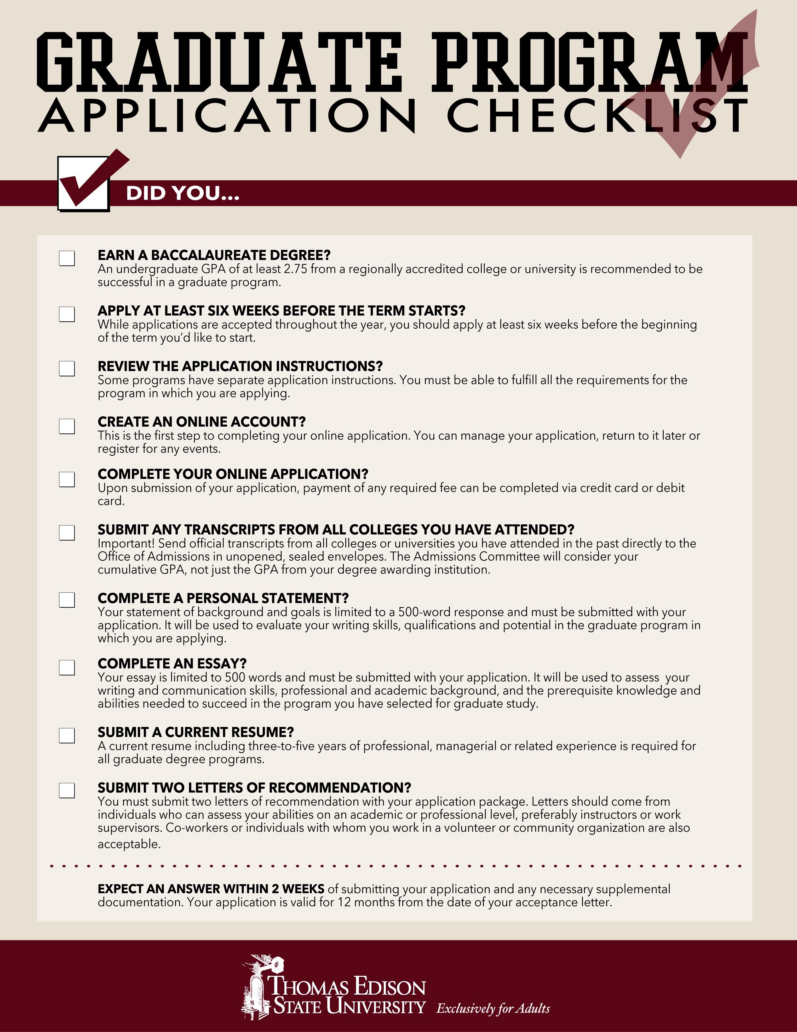 college essay application grad school