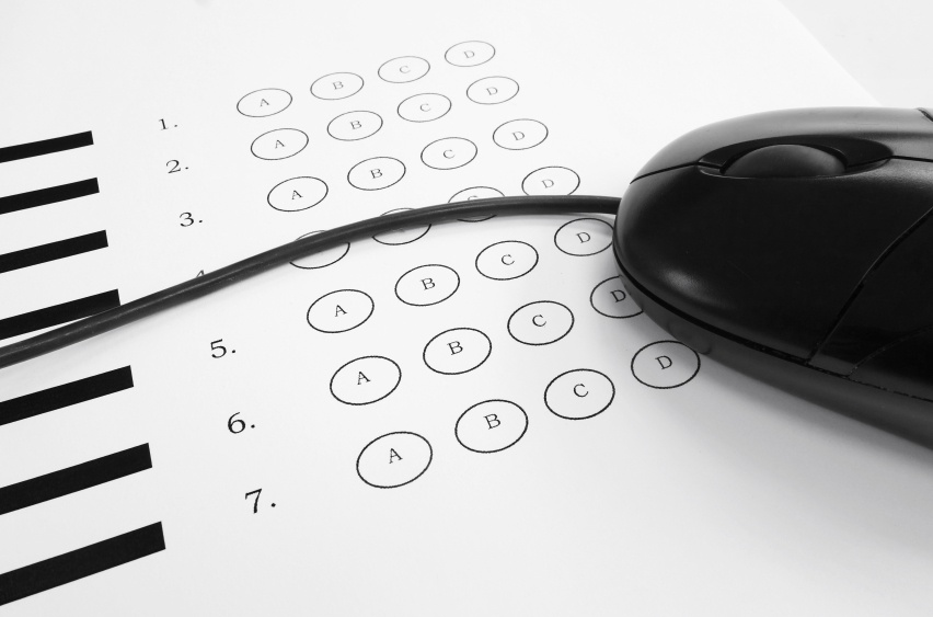 computer mouse on exam answer sheet