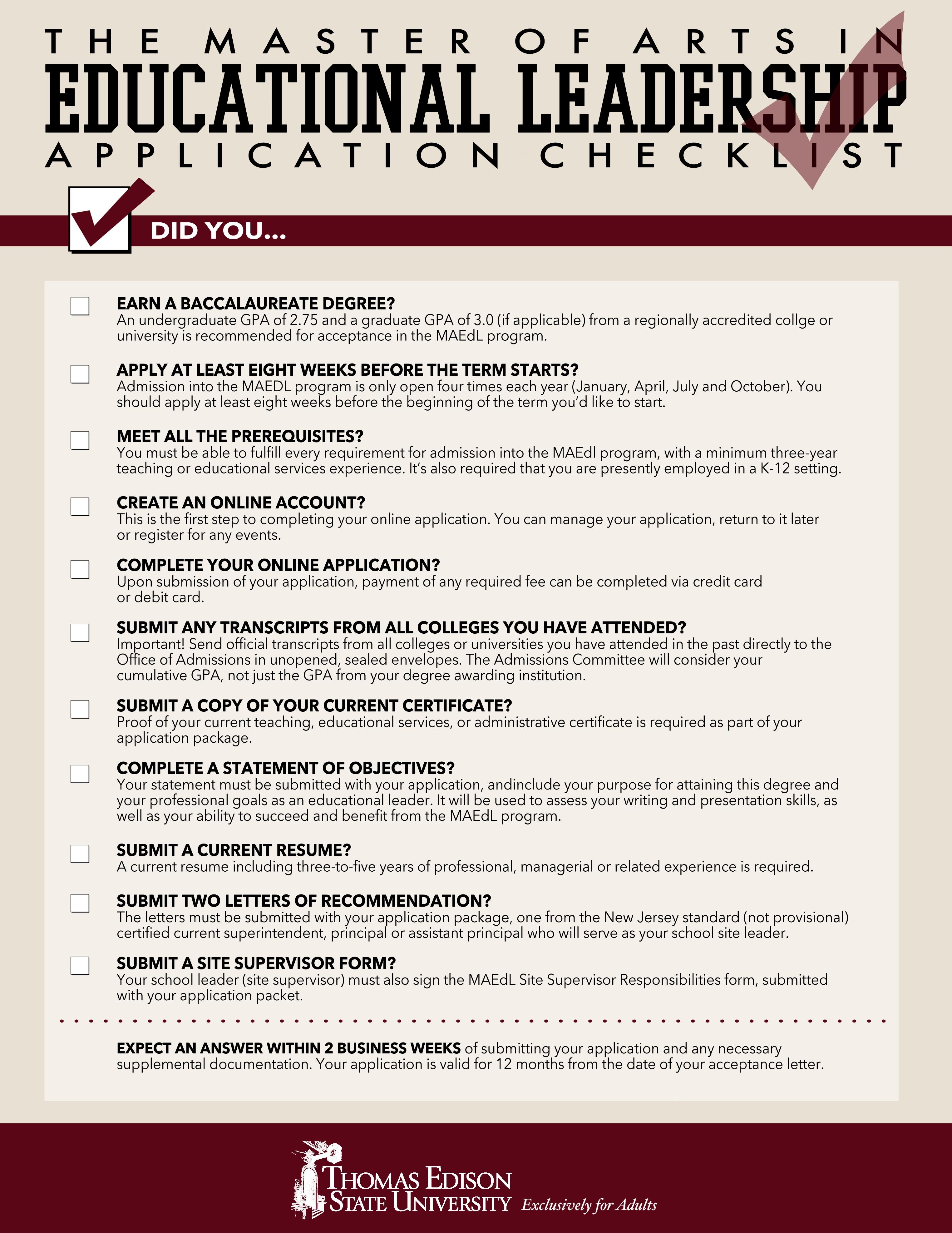 Thomas_Edison_State_University_MAEDL_application_checklist