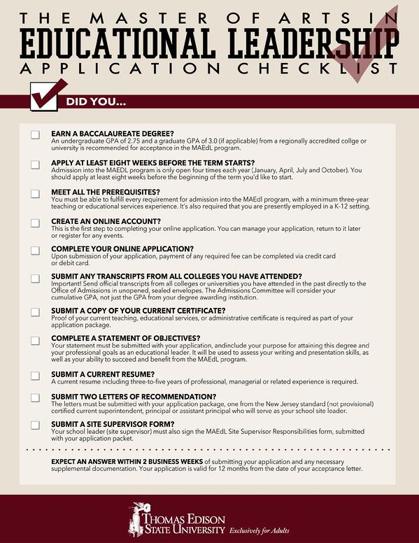Thomas_Edison_State_University_MAEDL_application_checklist