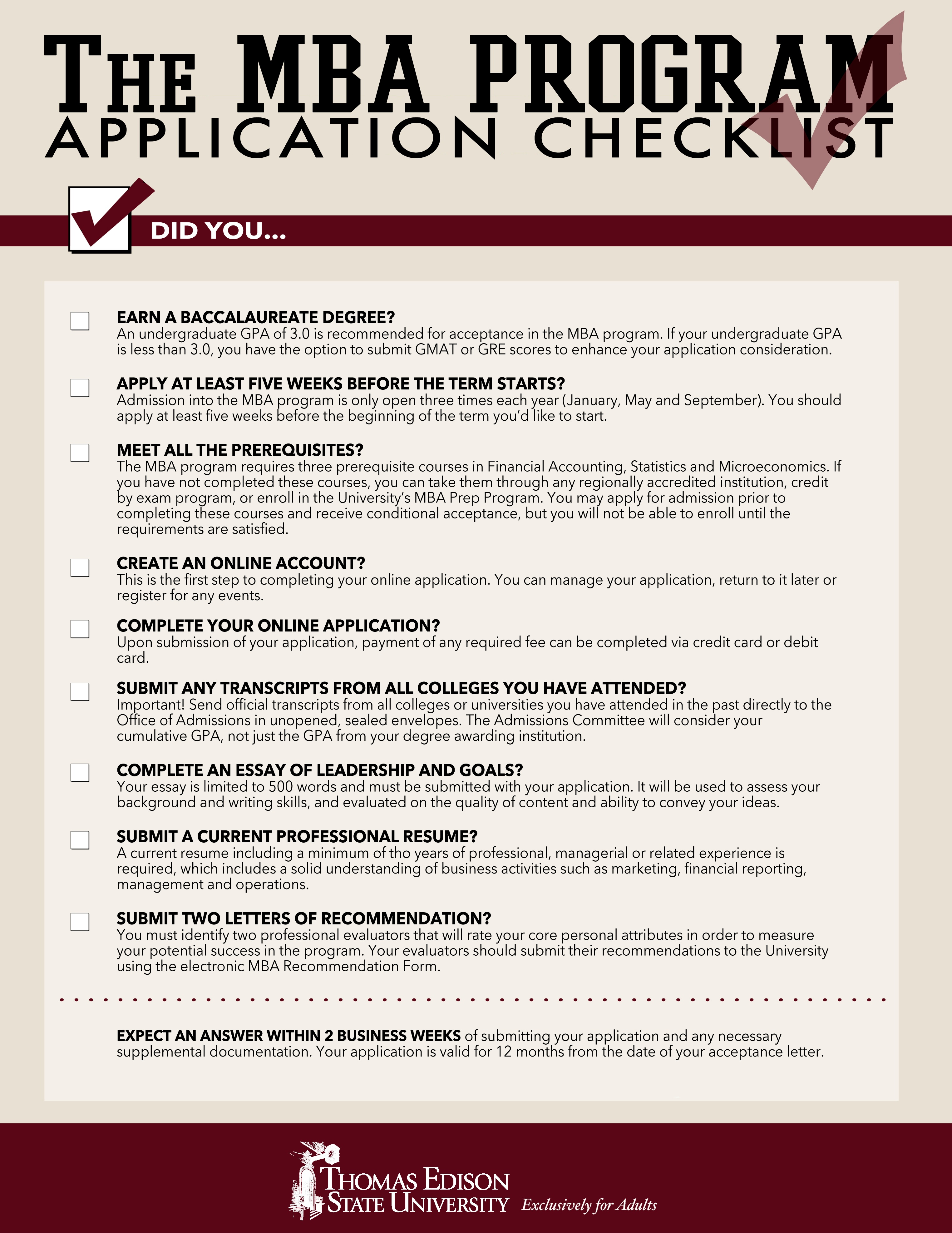 MBA Application Checklist: 9 Things You Must Do Before You Hit Submit